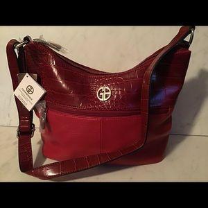Giani Bernini red leather pebble/croc purse